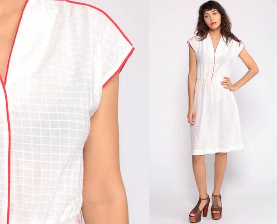 White Dress 70s Boho Midi Cap Sleeve V Neck Dress Sheer Dress Vintage Simple RED PIPING High Waist Dress 1970s Bohemian Small