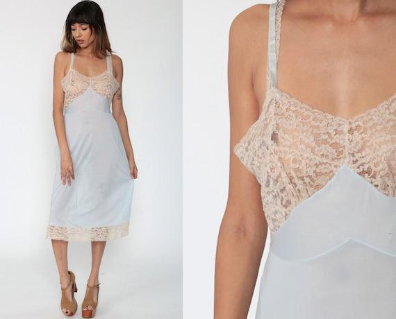 Sheer Blue Slip Dress 70s Lace Lingerie Midi Sweetheart Neckline Vintage 1970s High Waist Spaghetti Strap Nightgown Medium