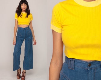 70s Crop Top Yellow TShirt Hippie Ringer Tee Vintage Crop Tee Boho T Shirt Hipster 1970s Retro Small