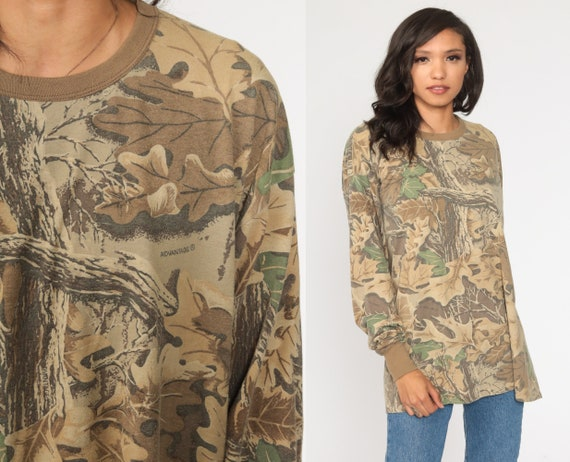 Hunting Camo T Shirt xxl Army TShirt Camouflage Shirt Realtree Style Hunting Military Tee Long sleeve Vintage Men's Extra Large 2xl