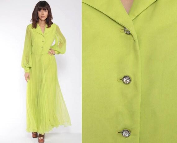 70s Jumpsuit Dress -- PALAZZO Pants Miss Elliette Wide Leg Jumpsuit Lime Green Chiffon Jumpsuit Boho 1970s Vintage Pantsuit Bohemian Small