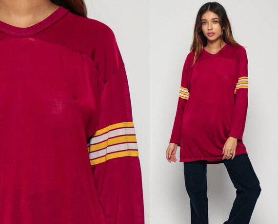 Football Shirt Sports Tshirt SHEER Athletic 80s Shirt Football Jersey Striped Top Burgundy Retro Long Sleeve T Shirt Vintage 1980s Large xl
