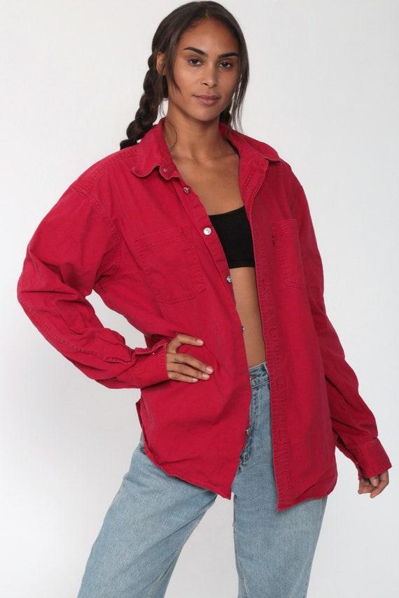 LEVIS Shirt Red 90s Button Down Shirt up Levi Jea… - image 3