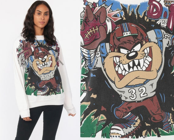 Football Taz Sweatshirt 90s Sweatshirt Looney Tunes Sweater Warner Bros Shirt Tazmanian Devil Cartoon Graphic Vintage Small Medium