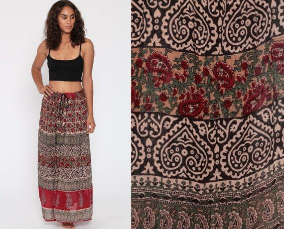 Gauze Broomstick Skirt 90s Floral Maxi Bohemian Skirt Vintage Red Black Skirt Boho Festival Skirt Semi Sheer Rayon Indian Extra Large XL L