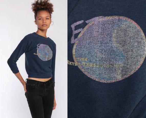 E.T. Extra Terrestrial Shirt 80s Sweatshirt Blue Jumper Graphic Print Sweater Vintage Kawaii Alien Universal Studios Extra Small xxs
