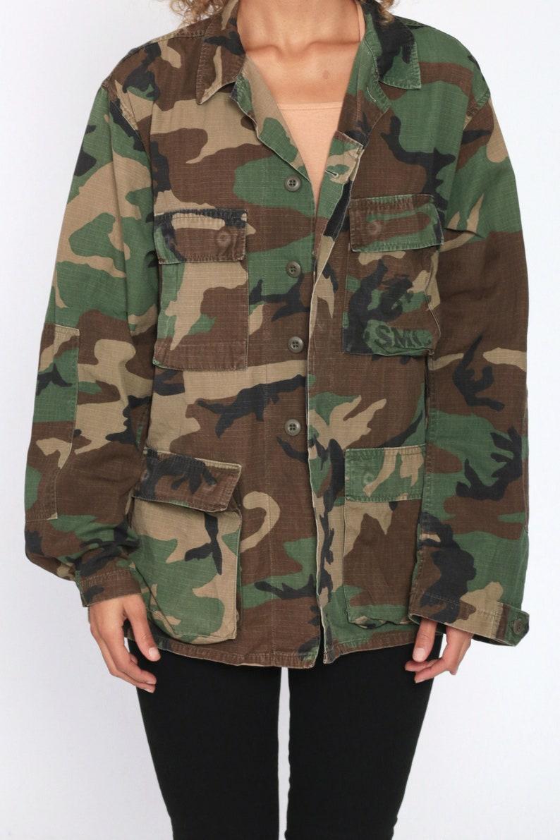 Army Camo Jacket 90s Army Shirt Camo Shirt USMC Shirt Camouflage Military Utility Commando Cargo Field Button Up Oversized 1990s Medium R