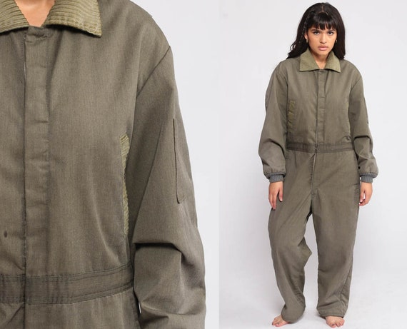 Insulated Coveralls Jumpsuit Army Green Pants Zip Up 80s Pantsuit LINED Vintage Olive 1980s High Waist Workwear Warm Medium Large