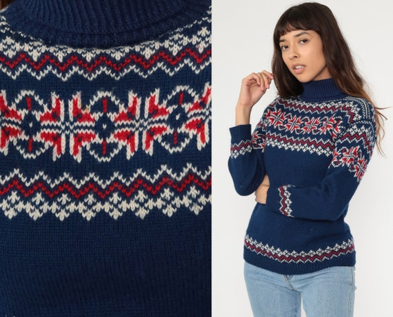 Fair Isle Sweater 70s WOOL Norwegian Sweater Navy Blue Boho Nordic Ski Sweater Bohemian Funnel Neck Knit Striped Pullover Extra Small xs s