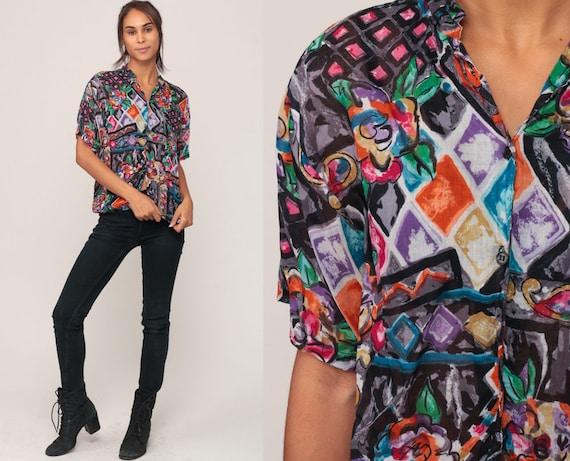 90s Shirt FLORAL Blouse Watercolor Print Grunge Shirt Hippie Top Boho Abstract Button Up Vintage Short Sleeve Medium