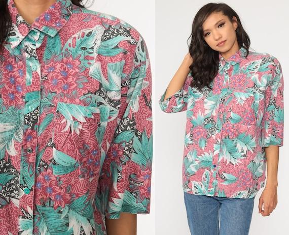 Tropical Leaf Shirt Blue Hawaiian Blouse Button Up 90s Vintage Surfer Vacation Short Sleeve Leaf Print Retro Top 1990s Large xl l