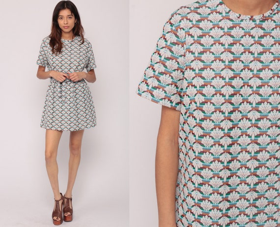 60s Mod Dress Plus Size Dress XL Dress Psychedelic Shift Mini BELTED Geometric Wallpaper Print 70s Sixties Twiggy Vintage Large