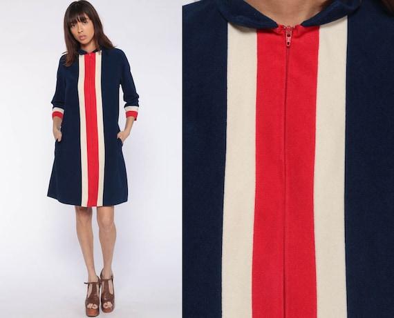 Vanity Fair Pajama Dress 70s Blue Mini Lounge Wear Robe Long Sleeve Loungewear Dress Boho Hippie Striped Bohemian 1970s Shift Vintage Medium