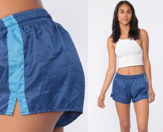 Swim Trunks 90s Bathing Suit Shorts Vintage Blue Striped 1990s Hipster Swimsuit Swim Shorts Vintage Retro Small