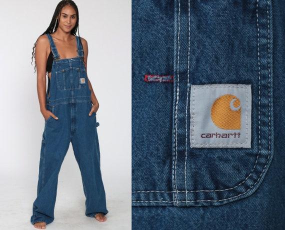 Carhartt Overalls 90s Bib Jean Overalls Denim Pants Dungarees Workwear Suspender Blue Pants Baggy Long Vintage Coveralls Medium Large