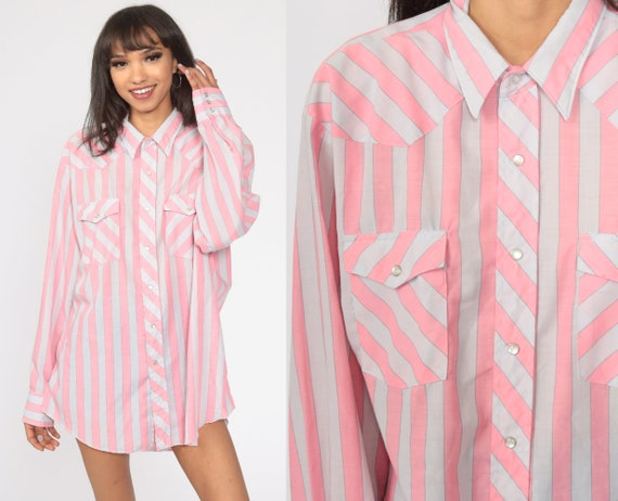 Pink Wrangler Shirt 80s STRIPED Western Shirt 1980s Pearl Snap Cowboy Top Long Sleeve Button Up Vintage Men's Extra Large XL