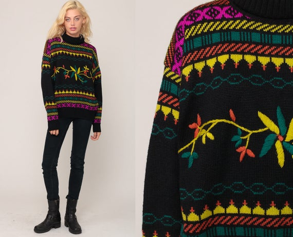 Floral Sweater 80s Boho EMBROIDERED Sweater Neon Fair Isle Funnel Neck Black Knit Slouchy 70s Pullover Vintage Jumper Extra Large xl 2xl xxl