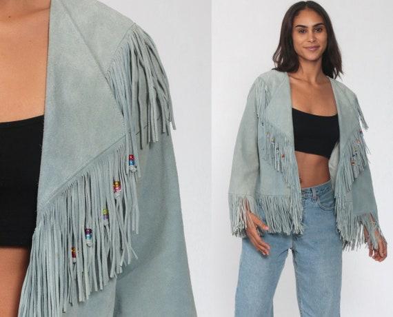 Suede Fringe Jacket 90s Pioneer Wear Leather Jacket BEADED SOUTHWESTERN Boho 80s Vintage Coat Bohemian Blue Festival Hippie Medium Large