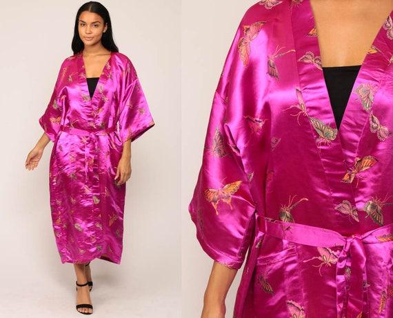 Long Satin Robe BUTTERFLY PRINT Robe Asian Kimono Robe Gown