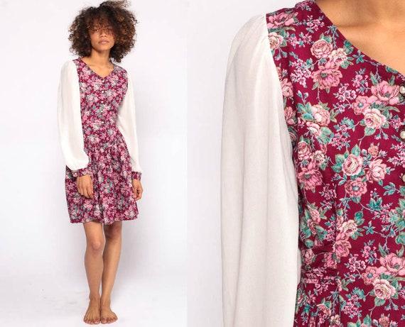 Floral Mini Dress Puff Sleeve Dress 80s Grunge Mini Low Waist White Dark Pink Bohemian 90s Button Up Long 1980s Small