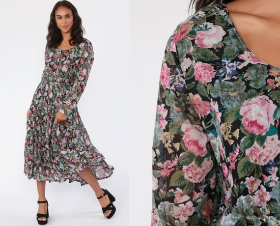 Grunge Floral Dress 90s Maxi Trapeze Sheer Long Sleeve Gauze Drape Black Pink Boho Lined Long Sleeve Romantic 1990s Boho Vintage Medium
