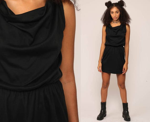 Black Mini Dress 70s High Waisted Grecian Party Cowl Neck 80s Etsy