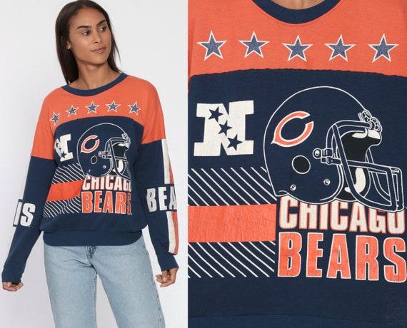 CHICAGO BEARS Sweatshirt -- 90s Navy Blue American Football NFL Pullover Jumper Sportswear 1990s Orange Graphic Print Sweater Small xs