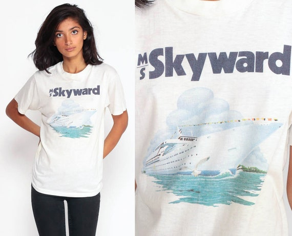 Cruise Ship Shirt MS Skyward Shirt 80s Retro TShirt Boat Burnout Tee Vintage T Shirt Graphic Print Paper Thin Travel 90s Small