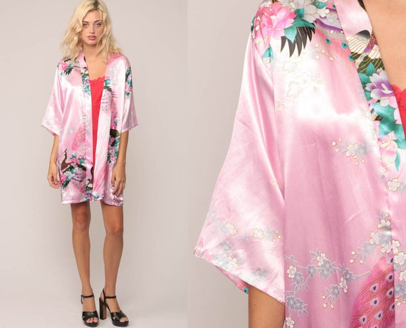 Pink Kimono Robe Jacket 90s Floral Print PEACOCK Bird Satin Asian 1990s Bohemian Wrap Open Front Vintage Boho Hippie Small Medium Large xl