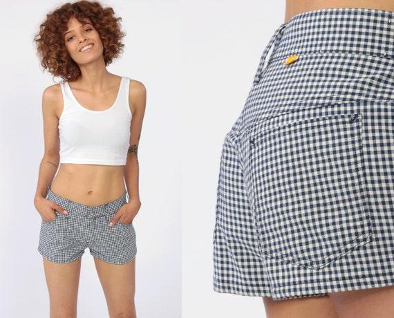 Plaid Gingham Shorts 70s Low Rise Short Shorts PLAID White Shorts Blue Cotton Shorts 1970s Summer Retro Vintage Extra Small XS