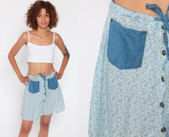 Floral Button Up Skirt Denim Pocket Skirt 90s Mini Grunge Boho Rayon A Line High Waist 1990s Vintage Hippie Medium
