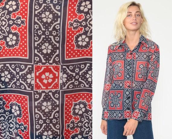 Boho Hanky Blouse 70s Button Up Shirt Floral Blouse Graphic Blue Bohemian 1970s Top Long Sleeve Shirt Vintage Retro Collar Scarf Medium