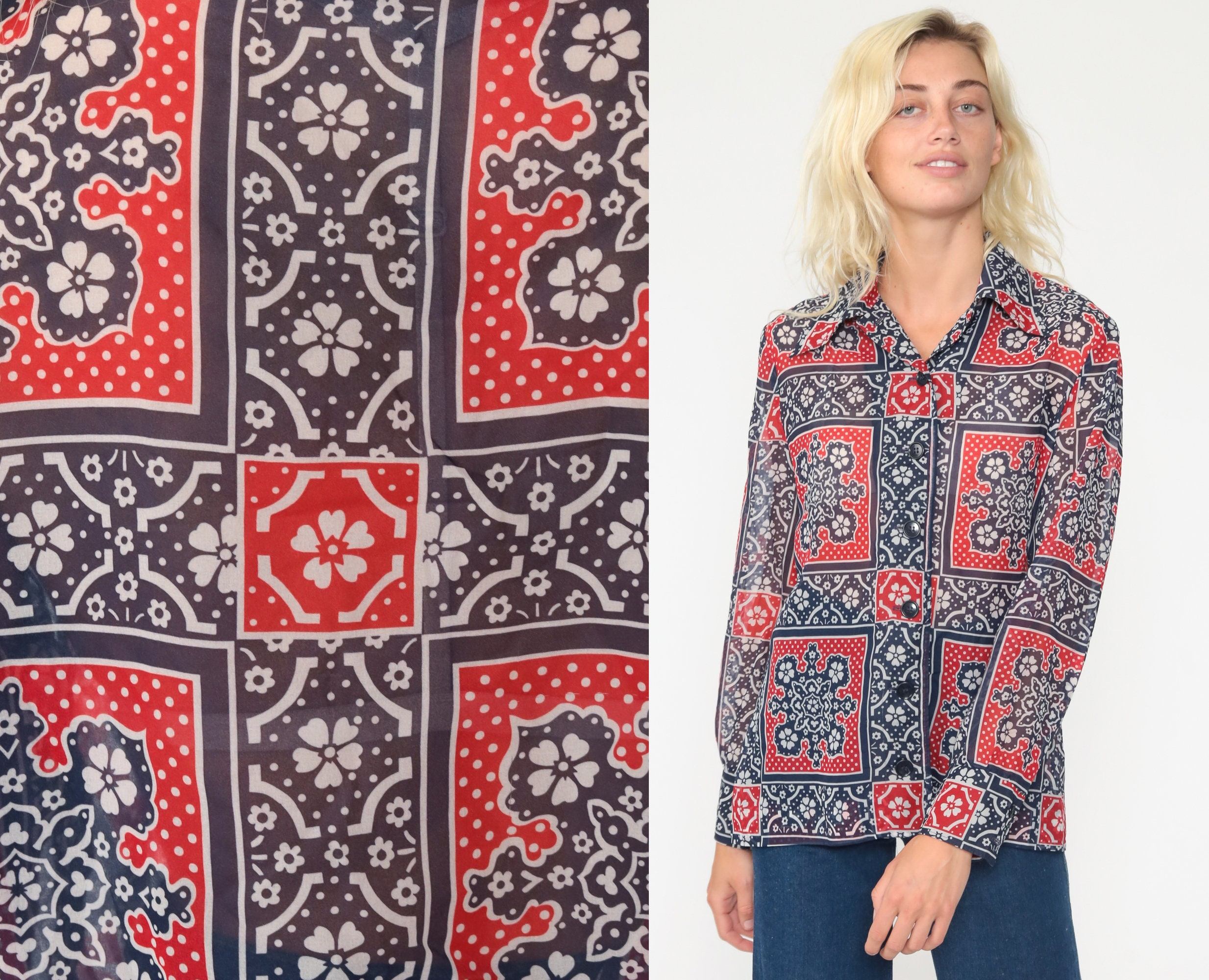 Vintage Scarf Styles -1920s to 1960s Boho Hanky Blouse 70S Button Up Shirt Floral Graphic Blue Bohemian 1970S Top Long Sleeve Vintage Retro Collar Scarf Medium $39.00 AT vintagedancer.com