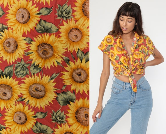Sunflower Shirt Flower Button Up Shirt 90s Floral Top STUDDED COLLAR Red Yellow Collared Short Sleeve 1990s Top Vintage Retro Medium