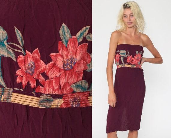Boho Summer Dress Plum Hippie Strapless Midi Dress 70s Floral Dress Bohemian Sun 80s Sundress Vintage Extra Small xs
