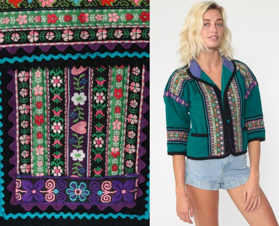 90s Wool Jacket Teal Green Floral Trim Cropped Bohemian Jacket Tiny Fit Crop Jacket 1990s Vintage Purple Folk Boho Hippie Extra Small xs