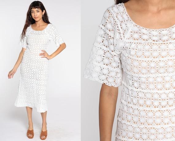 White Crochet Dress Boho 70s Lace Cotton Mexican Sheer Midi BELL SLEEVE Tunic Dress Festival Hippie Bohemian Vintage Extra Small xs