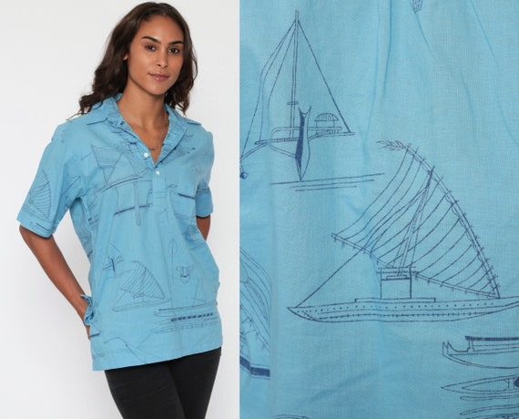 Nautical Boat Shirt 70s Sailboat Print Top Disco Beach 1970s Button Up Novelty Vintage Sailor Short Sleeve Blue Vacation Small Medium