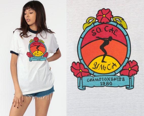 California YMCA Shirt 80s So Cal Swimming Championships Ringer Tshirt Vintage Retro T Shirt Thin Tee 1980s Graphic Swim TShirt Medium Large