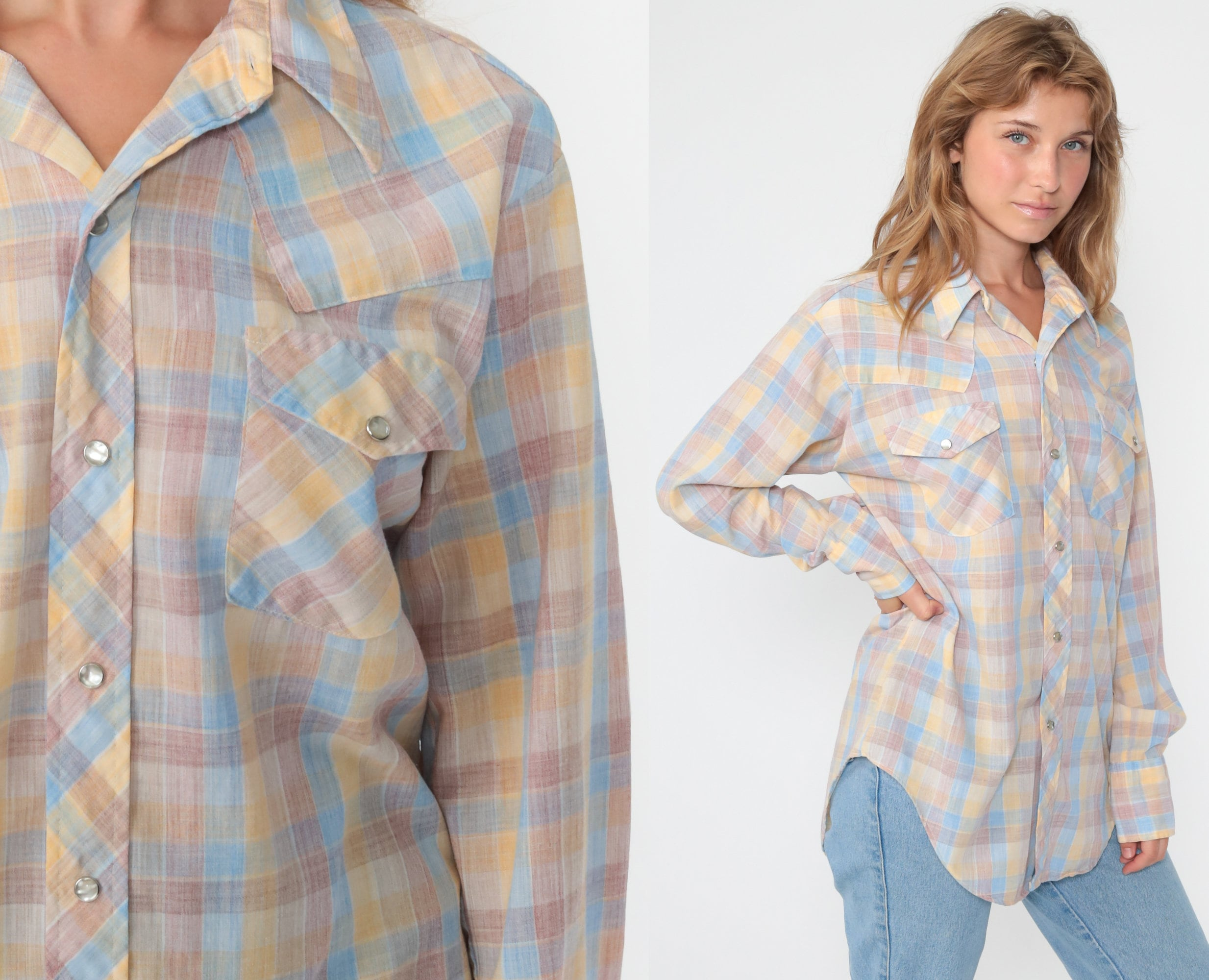 70s Western Shirt Pearl Snap Shirt Plaid Top 1970s Red Houndstooth Shirt Cotton Vintage Hipster Checkered Button Up Extra Small xs