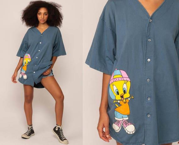 Tweety Bird Shirt Looney Tunes Tshirt Cartoon Animal Button Up Sports 90s T Shirt Graphic Vintage Tee Warner Brothers 1990s Extra Large xl