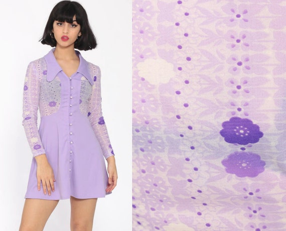 Lavender Babydoll Dress Sheer Floral 70s Mini Bohemian Mod Purple 1970s Long Sleeve Dog Ear Collar Vintage Boho Button Up Extra Small xs