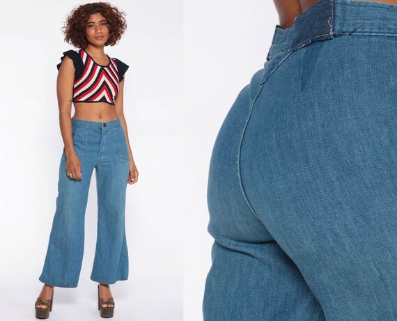 70s Bell Bottoms Jeans 29 High Waisted Jeans 70s Flared Denim Pants Super High Waist 1970s Vintage Hipster Blue Jean Small 29