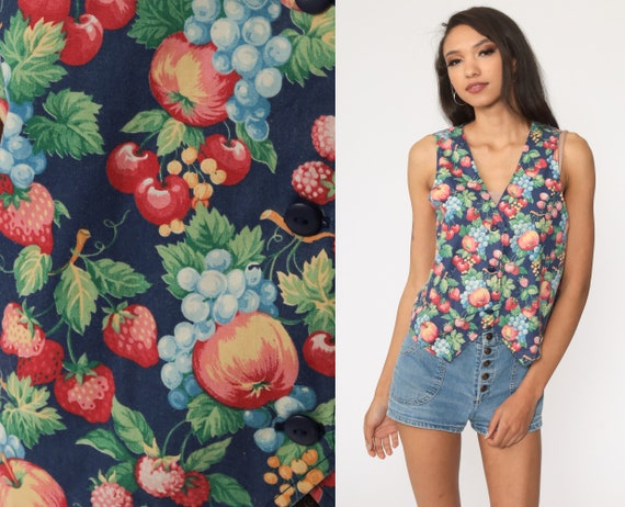 Fruit Print Vest Top Berry Apple Vest Button Up Tank Top 80s Boho Blouse Blue Bohemian 1980s Festival Sleeveless Small Medium