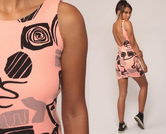 90s Bodycon Dress Skin Tight Mini Party Dress Pink Geometric 1990s Body Con Sleeveless MiniDress Vintage Medium
