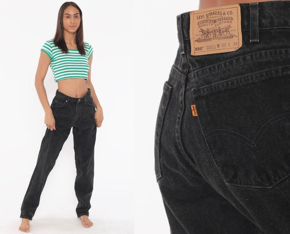 Black Levi Jeans 30 x 34 -- 550 Levis Mom Jeans High Waist Jeans 80s Jeans Black Denim Pants 550 Vintage Relaxed Tapered 90s Medium 8