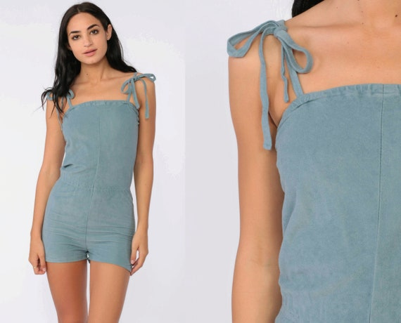 Grey Velour Romper xxs 80s Romper Shorts Playsuit High Waisted One Piece Summer Onesie 1980s Vintage Spaghetti Strap Extra Small xs