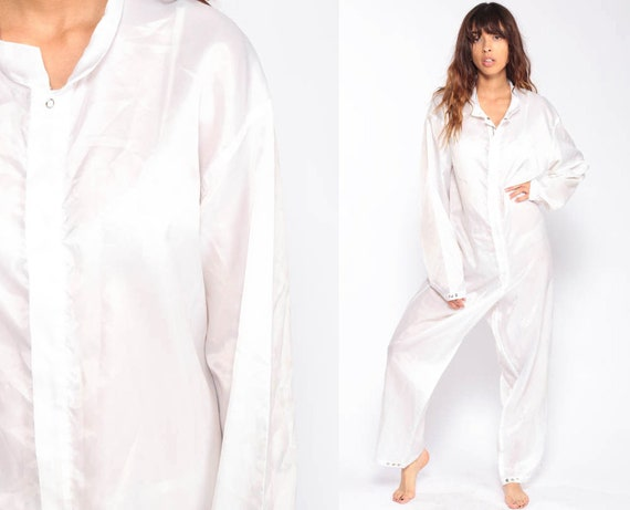 White Coveralls Pants Work Jumpsuit Workwear One Piece Long Sleeve Onesie Outfit Vintage Extra Large xl 2xl