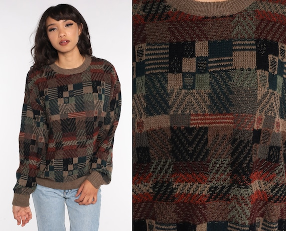 Geometric Checkered Sweater 90s Sweater Print Acrylic Knit 1990s Statement Grunge Vintage Pullover Brown Men's Large