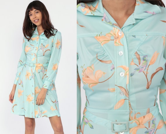 Bird Print Dress 70s Mini Dress Floral Belted Boho Long Sleeve Garden 1970s Hippie Bohemian Button Up Vintage Blue High Waist Extra Small xs